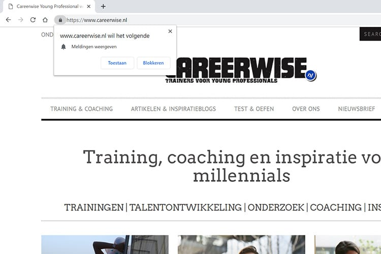 Careerwise website notificaties en meldingen