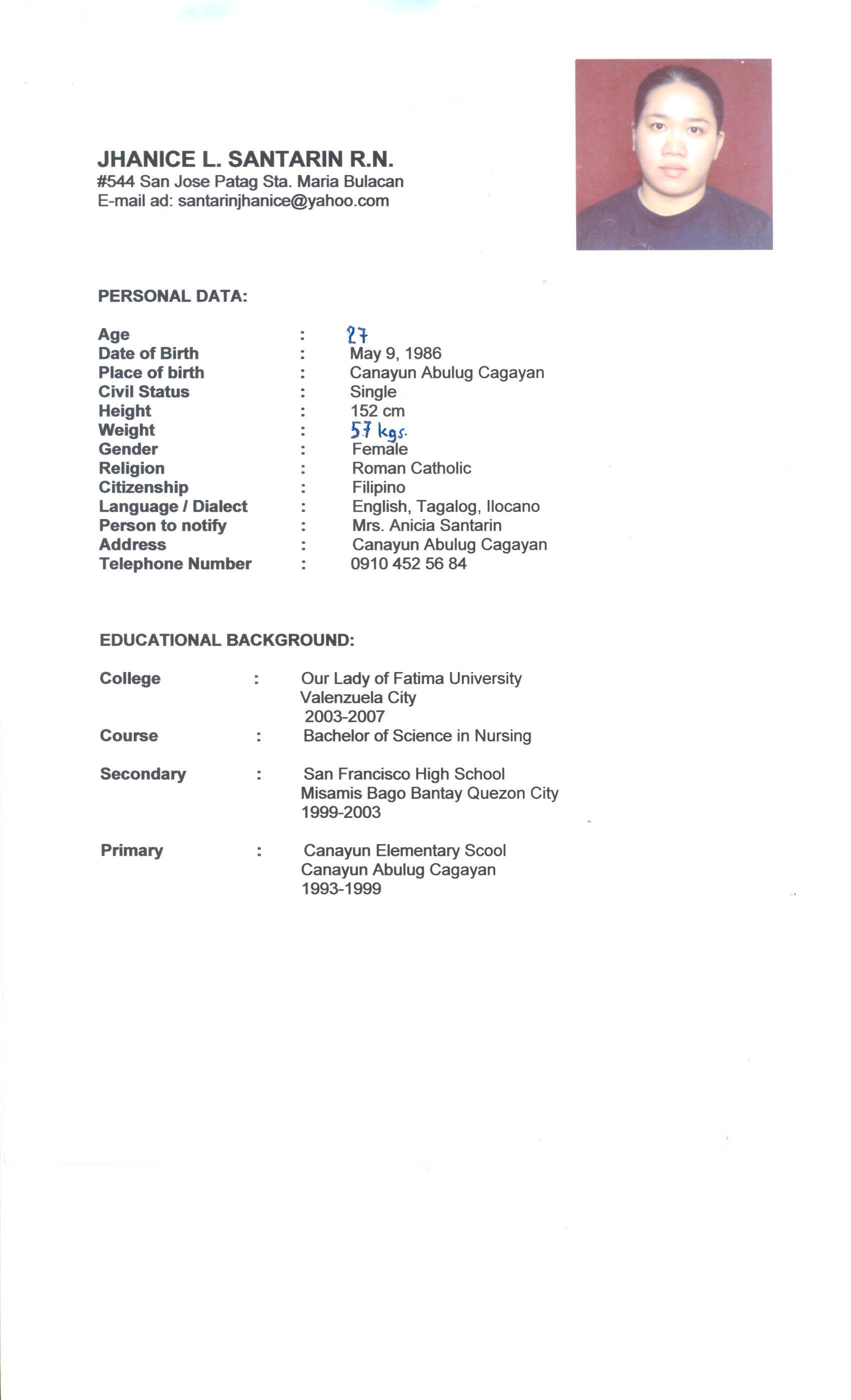 resume nanny job template template volumetrics co