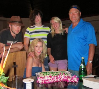Cal, Shannon, Kim, Ashley and Glen Campbell anniversary cake in Hawaii