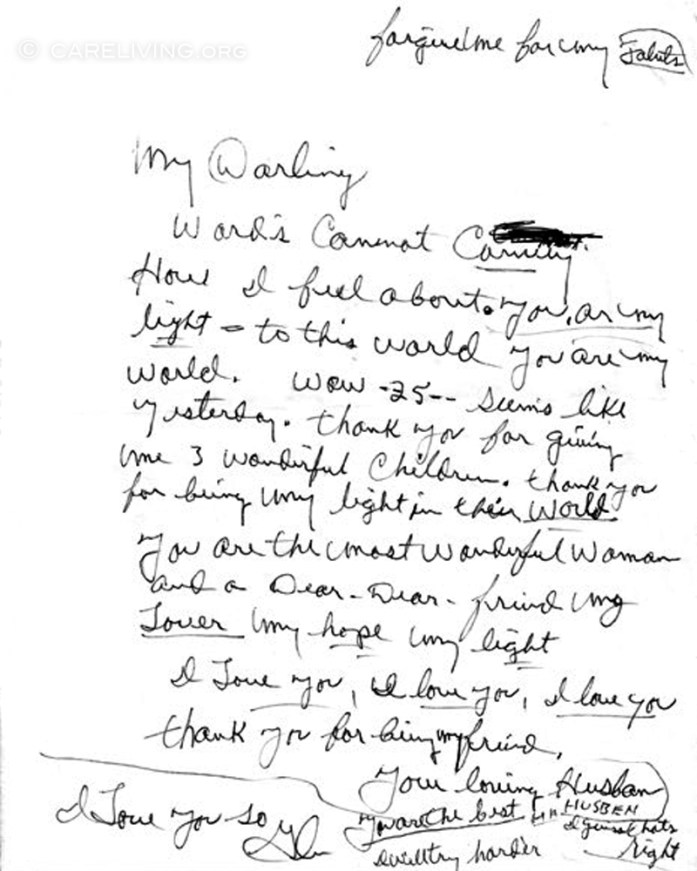 Glen Campbell letter to Kim Campbell on their 25th Anniversary