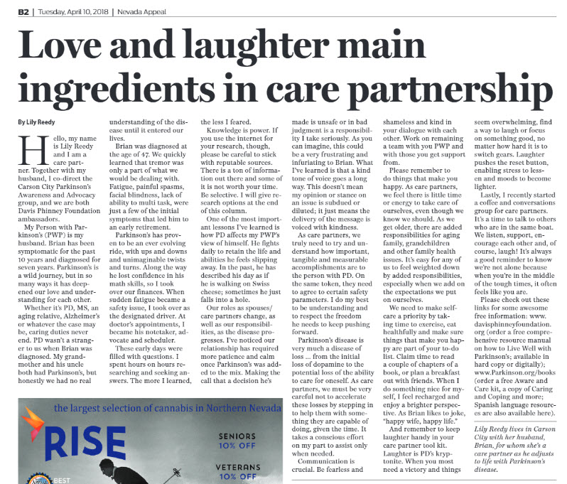 Love and laughter main ingredients in care partnership