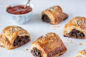 Beef and Caramelised Onion Sausage Rolls made with Carême All Butter Puff Pastry