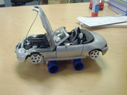 office pranks with a toy car
