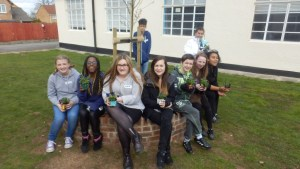 Enjoying a Spring Activity Day sitting around our tree, kindly donated by Chew Valley Trees.