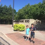 The carful of kids outside the Cameron Park Zoo in Waco waiting for it to open. Texas family travel