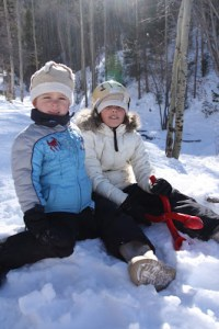 Free sledding in the Santa Fe National Forest at the Big Tesuque Campground.