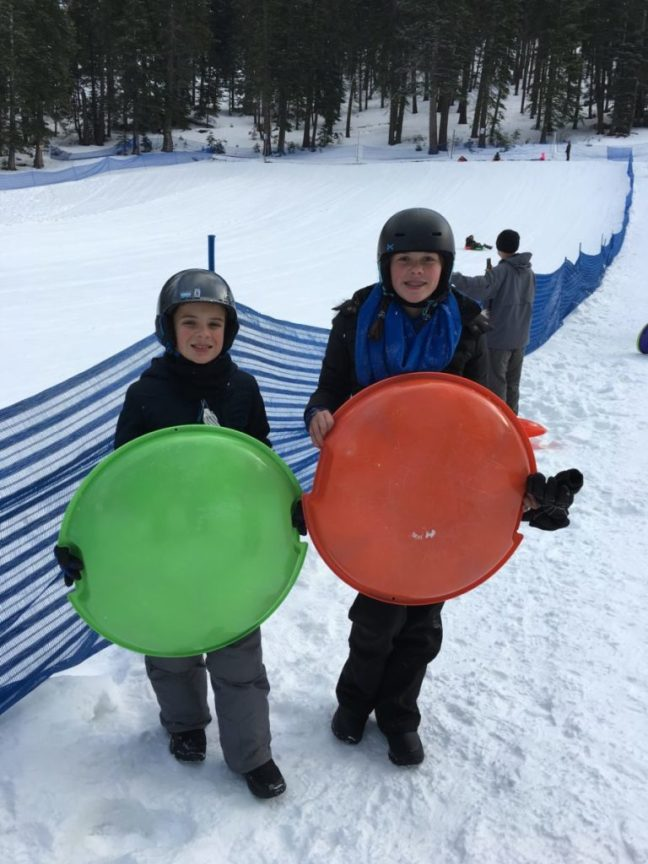 Don't know what the carful of kids love more, sledding or skiing. Granlibakken-Tahoe, Lake Tahoe, Family ski destinations,