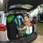 There's a lot of work in the back of the SUV. Lake Tahoe, family friendly ski destination,