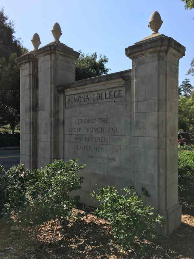 Pomona College Gates. College Shopping in Southern California.