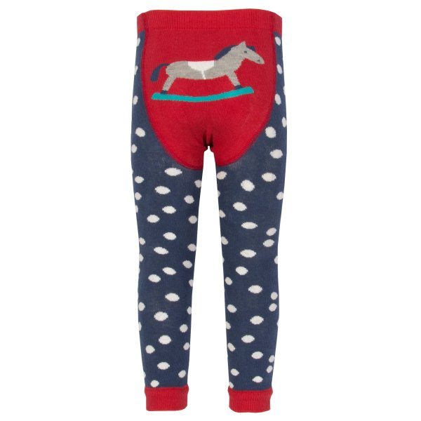 navy and red polka dot footless tights with a rocking horse on the back suitable for cloth nappies and babywearing