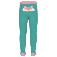 chic green and pale pink organic fox tights