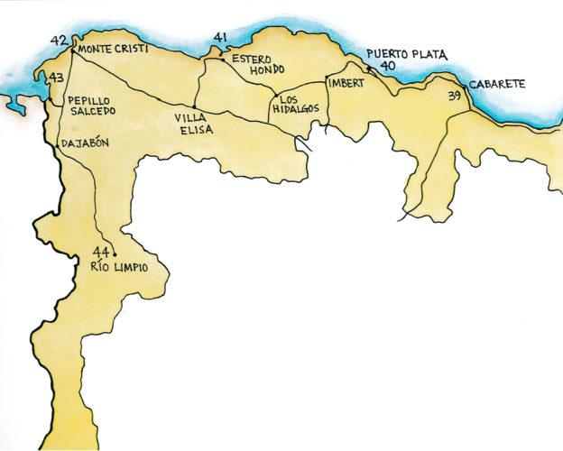 Samana and the North Coast, West (Map by Dana Gardner)