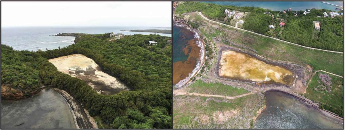 La Sagesse Pond in May 2019 (left), before the Six Senses Resort and Luxury Hotel development plan was approved. La Sagesse Pond in August 2020 (right), four months after there was extensive clear cutting and bulldozing to accommodate the first phase of construction (photos by Reginald Joseph).