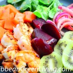 Grilled Shrimp Salad with Spinach, Beet, Papaya and Kiwi