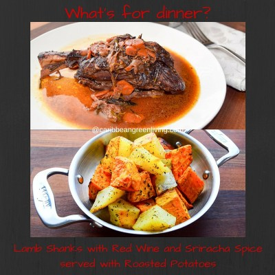 Lamb Shanks with red wine and Sriracha spice