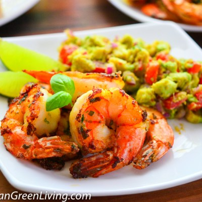 Spicy Grilled Shrimp with Avocado and Tomato Salad, a quick meal