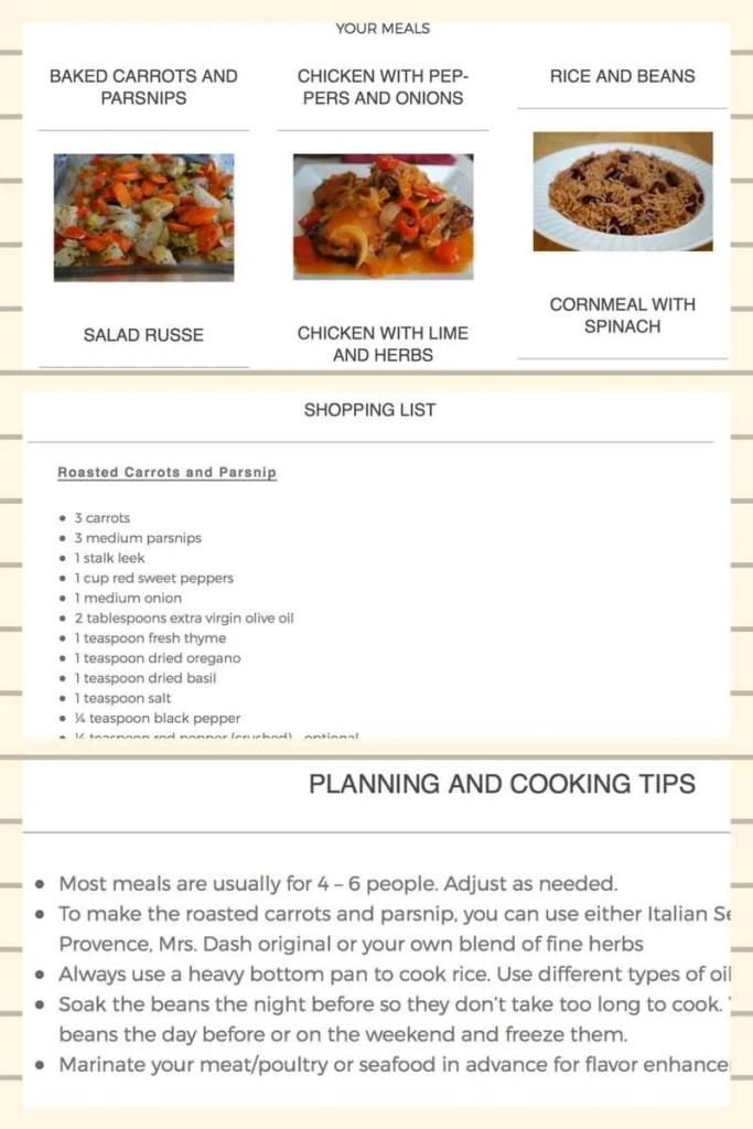 Newsletter Sneak Peek and Sample Frugal Caribbean Cooking Meal – Sample Meal Planning