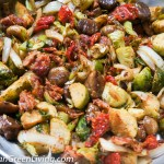 Delicious Roasted Brussels Sprouts with Sundried Tomato and Chestnuts