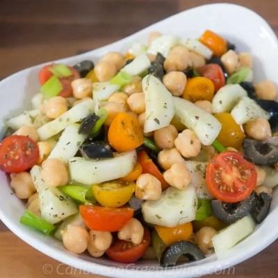 Cucumber, Chickpeas, Olive & Tomato Salad