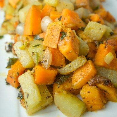 Pan Roasted Chayote with Sweet Potatoes