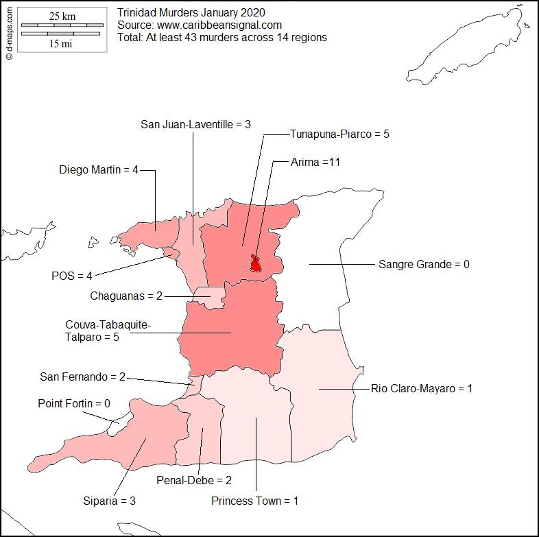 Trinidad Murder Heat Map Jan 2020
