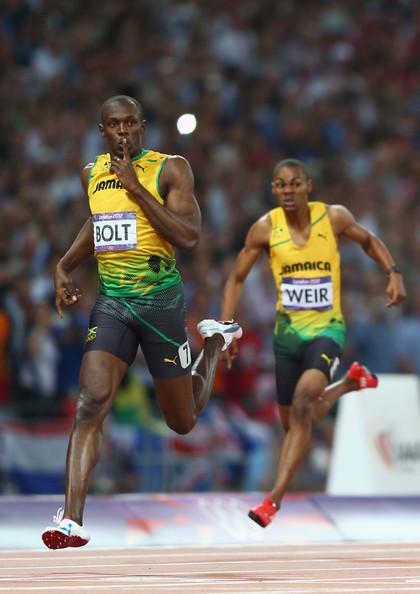 Warren Weir trailing Usain Bolt