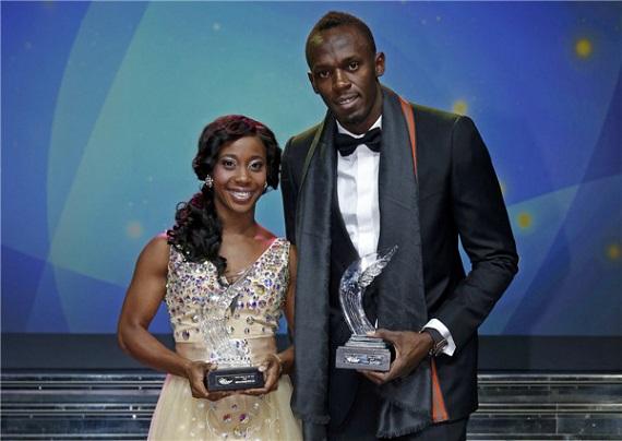 Bolt and Fraser-Pryce receive IAAF awards. Photo courtesy www.chinadaily.com.cn
