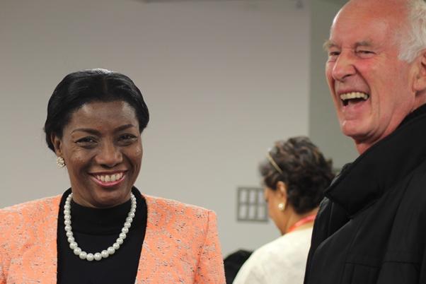 Barbados Deputy High Commissioner Althea Wiggins sharing a joke. Photo courtesy CaribDirect
