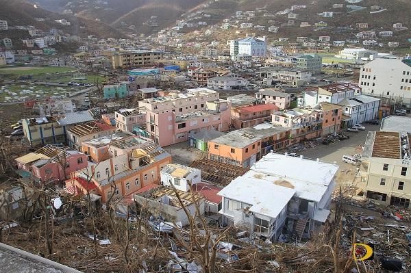Photo of devastated Road Town, BVI. Photo courtesy Dean 'The Sportsman' Greenaway