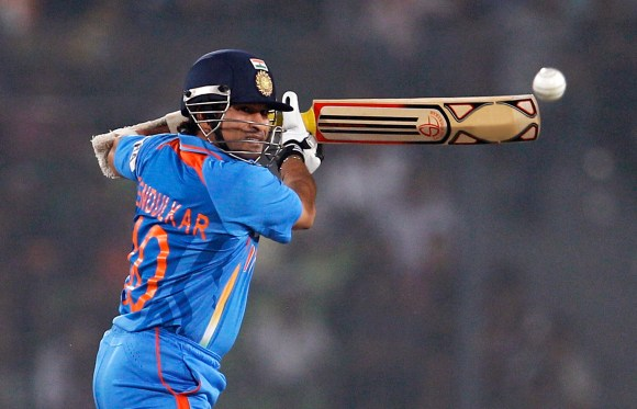 India's Sachin Tendulkar plays a shot during their Asia Cup cricket match against Pakistan in Dhaka, Bangladesh, Sunday, March 18, 2012. (AP Photo/Aijaz Rahi)