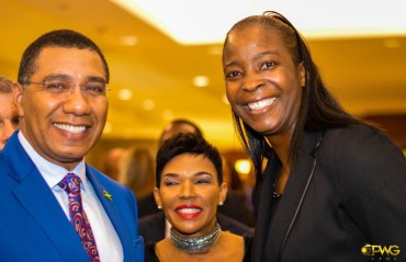 Prime Minister Holness, Ambassador Marks, and Simone Edwards