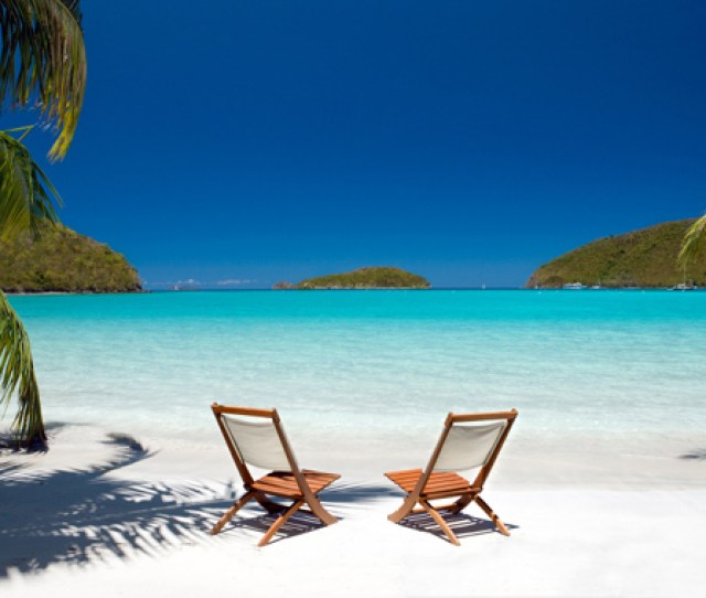 Beach Chairs Waiting For You On A Beautiful Secluded Virgin Islands Beach