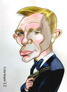 Caricatura James Bond Daniel Craig