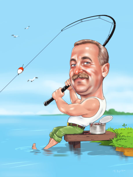 шаржи рыбак по фото