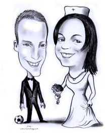 black and white wedding caricature