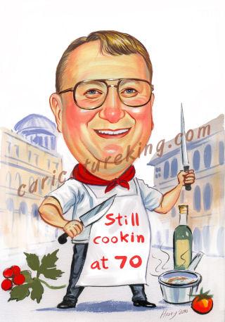 caricature picture of Ron a masterchef