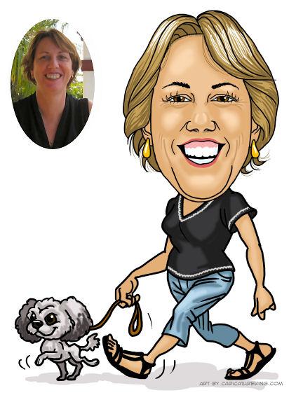 caricature lady walking dog