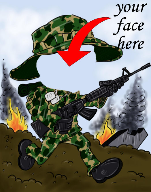 army caricature of soldier