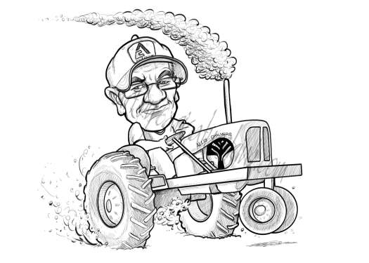 caricature of man driving a tractor