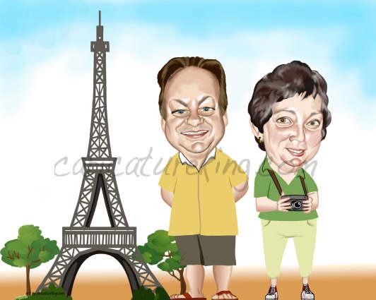 caricature of travellers in Paris