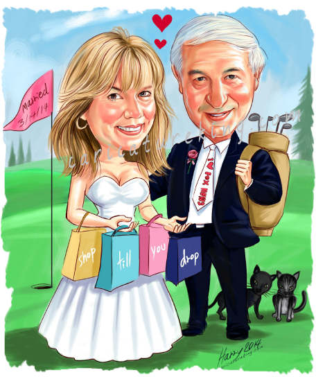 happy shopping and golfing wedding couple