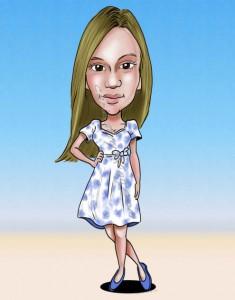 caricature of a cute girl in summer dress
