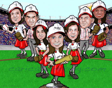 baseball work team caricature gift