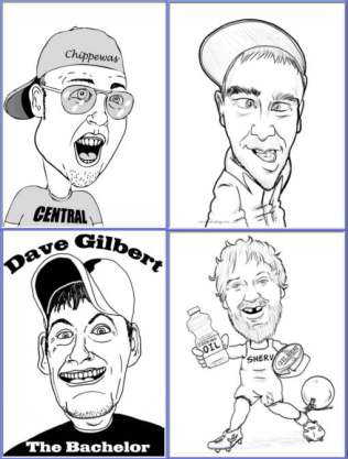 caricatures used on party t-shirts