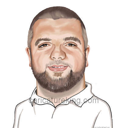 head and shoudlers caricature of a bearded man