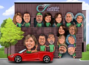 doctor gift group caricature retirement