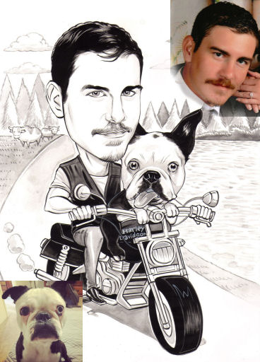 man-and-dog-caricature-bw