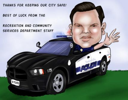 custom retirement gift caricature for police officer