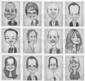 staff caricatures head and shoulders black and white