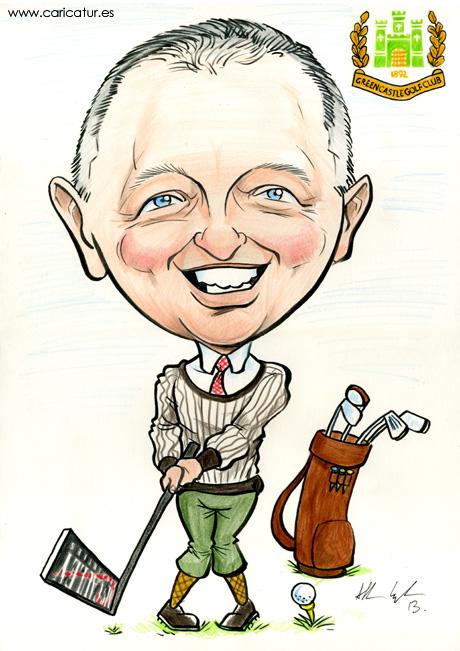Caricature of Greencastle Golf Club Captain by Allan Cavanagh